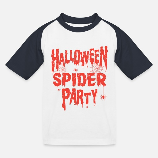 Cobweb T-Shirts - HALLOWEEN SPIDER PARTY - Kids' Baseball T-Shirt white/navy