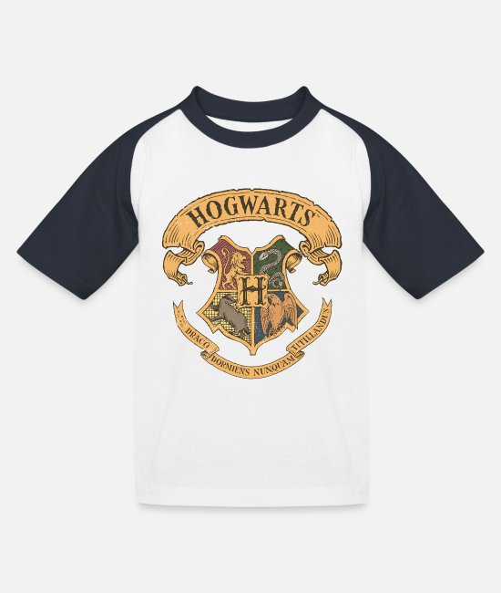 Official License T-shirts - Harry Potter Hogwarts Coat of Arms - Baseball T-shirt til børn hvid/marineblå