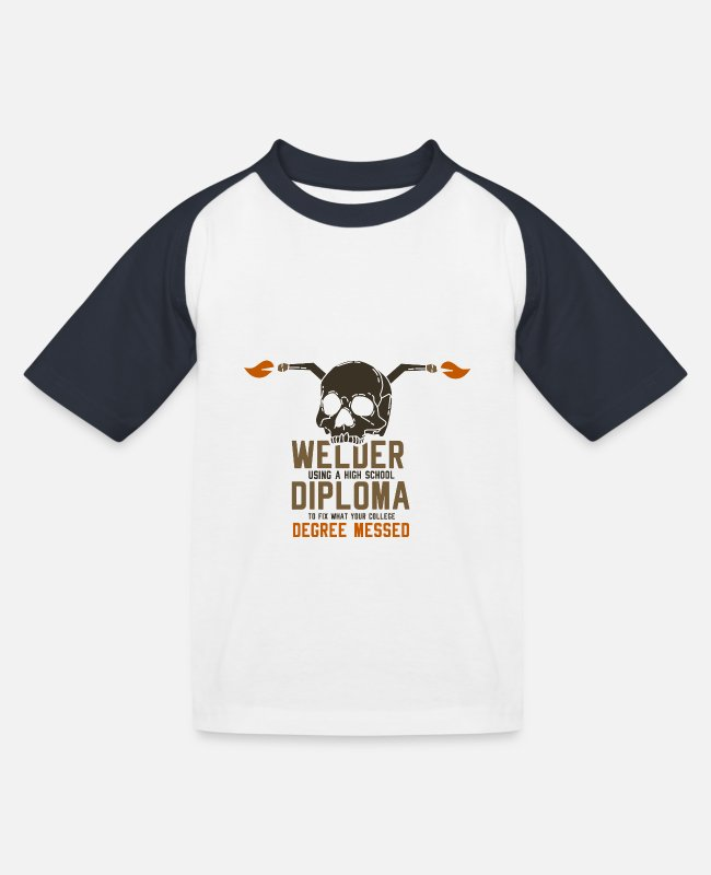 Battery T-Shirts - Welder Diploma Degree Messed T-Shirt Gift Shirt - Kids' Baseball T-Shirt white/navy
