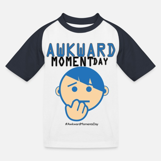 Gift Idea T-Shirts - Day of Embarrassing moments - Kids' Baseball T-Shirt white/navy