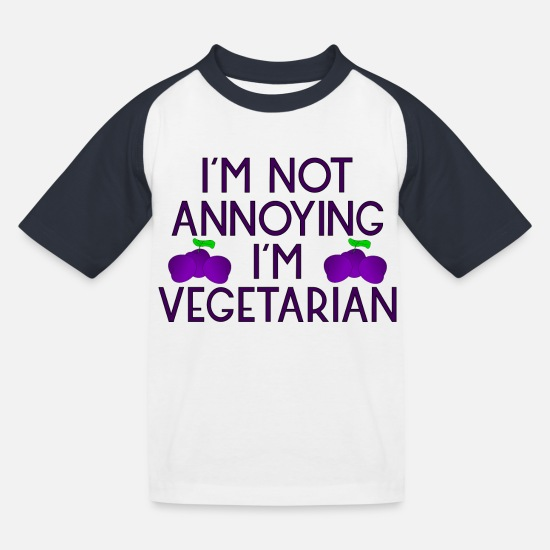 Fruit T-Shirts - vegetarian vegan veggie plum plum zwetschgen5 - Kids' Baseball T-Shirt white/navy