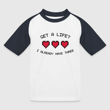 8-bit Jokes Get A Life 8-Bit Gamer Hearts - Kids' Baseball T-Shirt