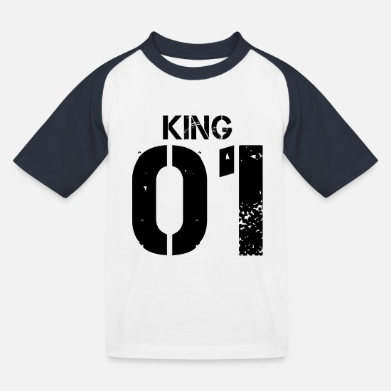 Vrouw T-shirts - King 01 Grunge Design Black - Kinderen baseball T-shirt wit/navy