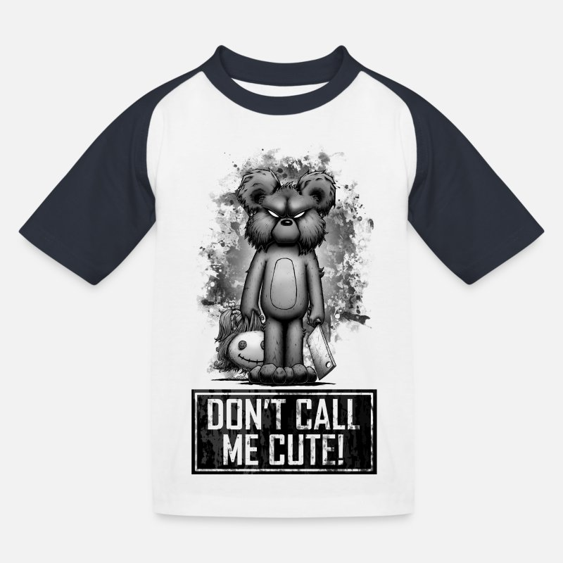 Bestsellers Q4 2018 T-Shirts - Teddy - Don't Call Me Cute - Kids' Baseball T-Shirt white/navy