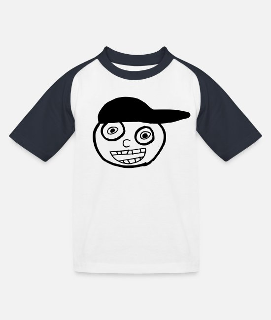Doodle T-Shirts - Kid In A Cap Full Face - Kids' Baseball T-Shirt white/navy