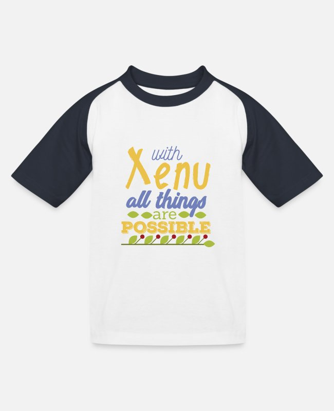 Bibel T-Shirts - With Xenu All Things are Possible - Kinder Baseball T-Shirt Weiß/Navy
