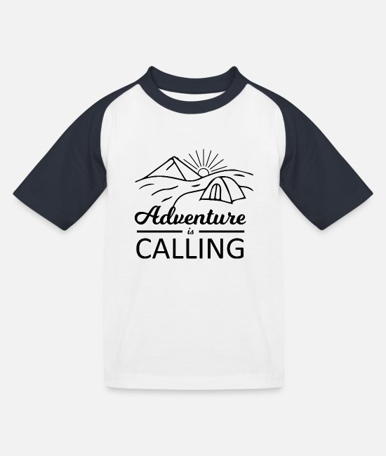 Outsider T-Shirts - Outdoor Travel Adventure Nature - Kids' Baseball T-Shirt white/navy