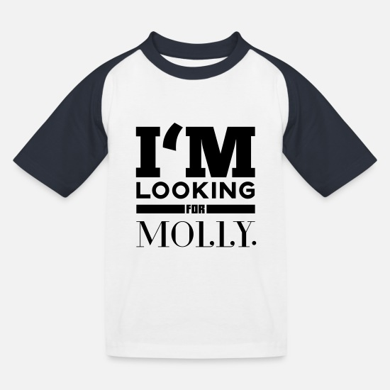 Electro T-Shirts - i'm looking for molly - Kinder Baseball T-Shirt Weiß/Navy