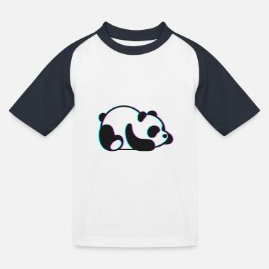 Anaglyph Lazy Panda Cute 3D Anaglyph Retro Vintage - Kids' Baseball T-Shirt