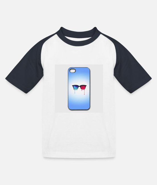 Meditation T-Shirts - 3d psychedelic goa meditation glasses iphone 44s h - Kids' Baseball T-Shirt white/navy