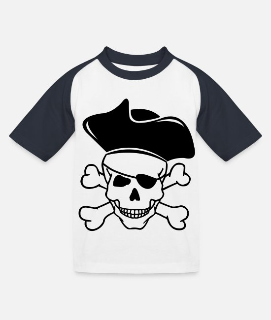 Pirate T-Shirts - skull pirate 02 - Kids' Baseball T-Shirt white/navy