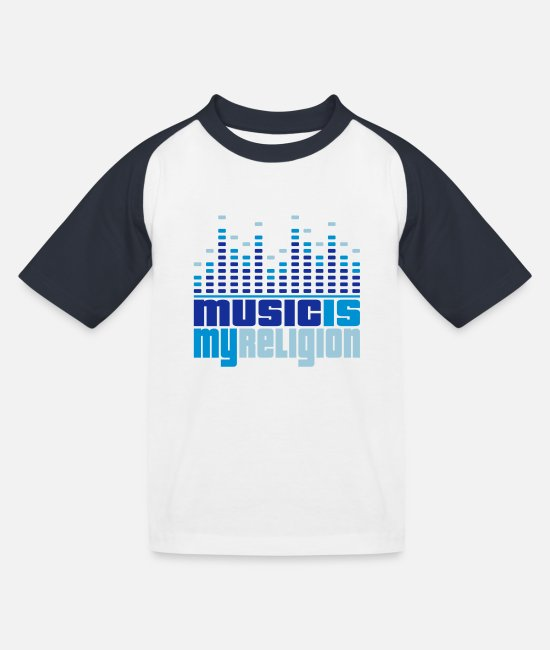 Beep T-Shirts - Music Equalizer Religion - Kids' Baseball T-Shirt white/navy