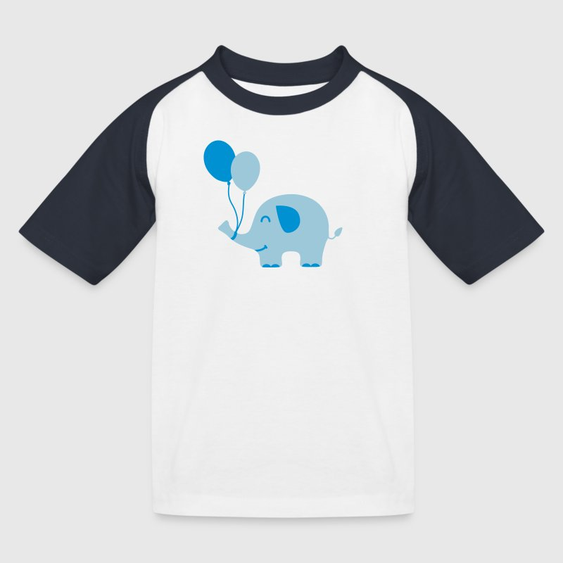 Sweet Funny Baby Elephant with Balloons - Kids' Baseball T-Shirt