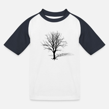 Tree Silhouette tree silhouette winter shadow - Kids' Baseball T-Shirt