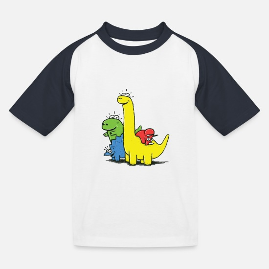 School T-Shirts - Dino Gang, Colored - Kids' Baseball T-Shirt white/navy