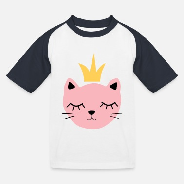 Pink cat with crown - Kids' Baseball T-Shirt
