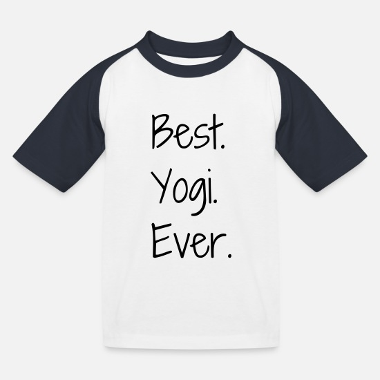 Yogi T-Shirts - Yoga / Yogi / Buddhismus / Buddhist - Kinder Baseball T-Shirt Weiß/Navy