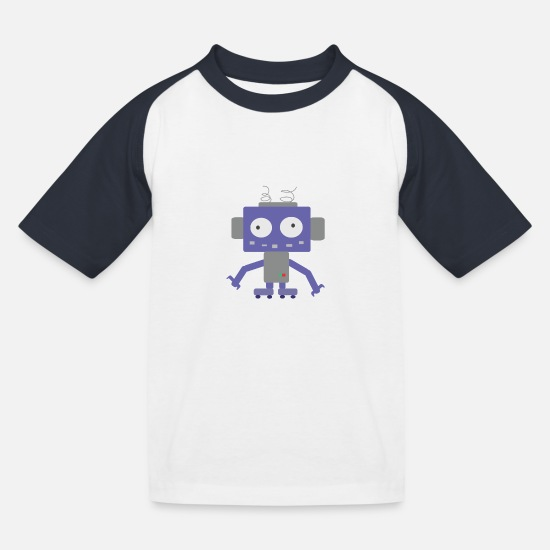 Robot T-Shirts - Cute Little Robot - Kids' Baseball T-Shirt white/navy