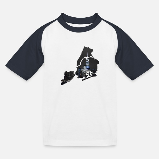 New York T-Shirts - NYC - Kids' Baseball T-Shirt white/navy