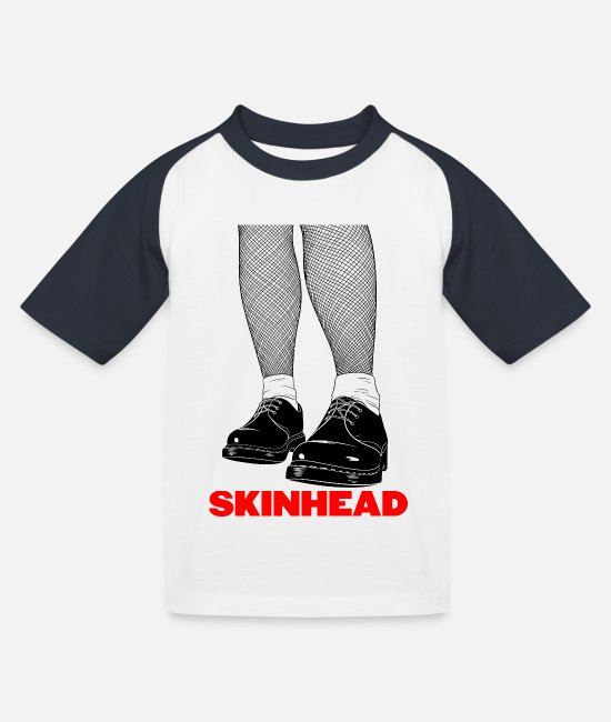 Jamaica Dancehall T-Shirts - Trojan Skinhead print | Skinhead Clothing for Men - Kids' Baseball T-Shirt white/navy