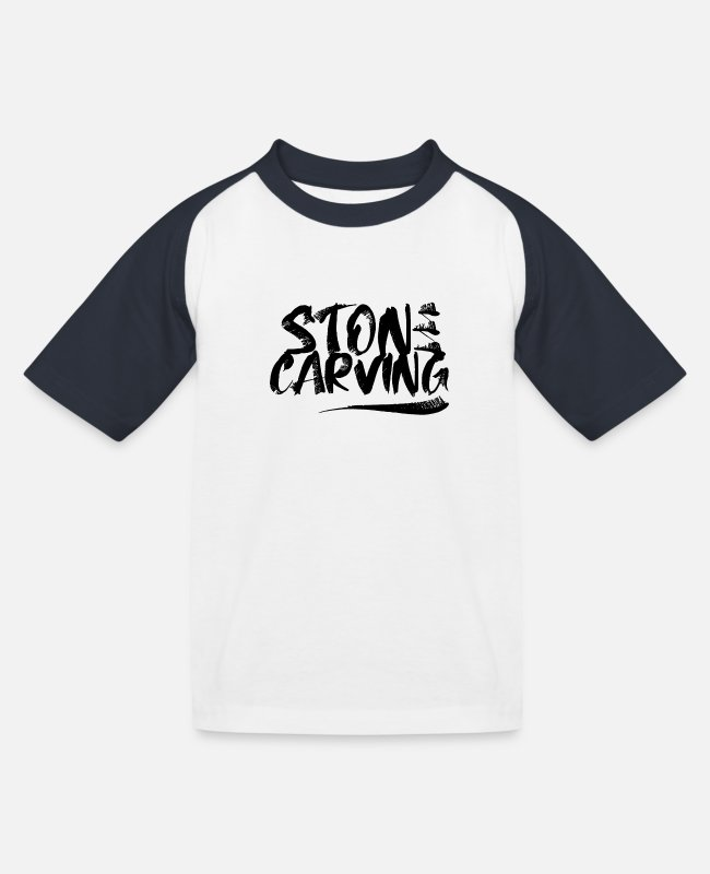 Occupation T-Shirts - Stone stonecutter stones stone carving sculptor - Kids' Baseball T-Shirt white/navy