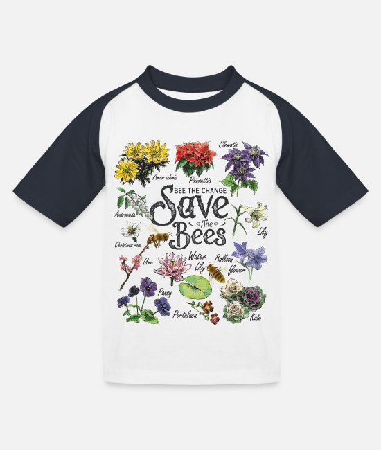 Nachhaltigkeit T-Shirts - Save the Bees Art Gift - Kinder Baseball T-Shirt Weiß/Navy