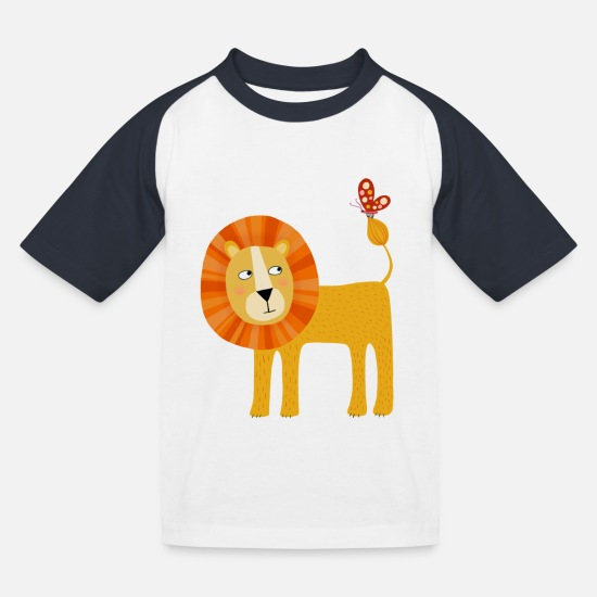 Kids T-Shirts - Lion - Kids' Baseball T-Shirt white/navy