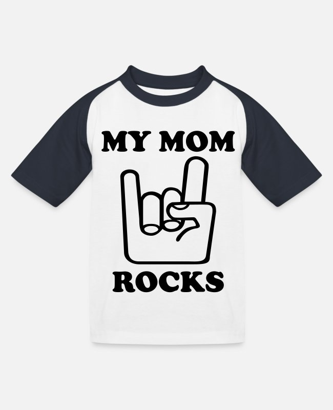Heavy T-Shirts - My Mom Rocks - Kinder Baseball T-Shirt Weiß/Navy