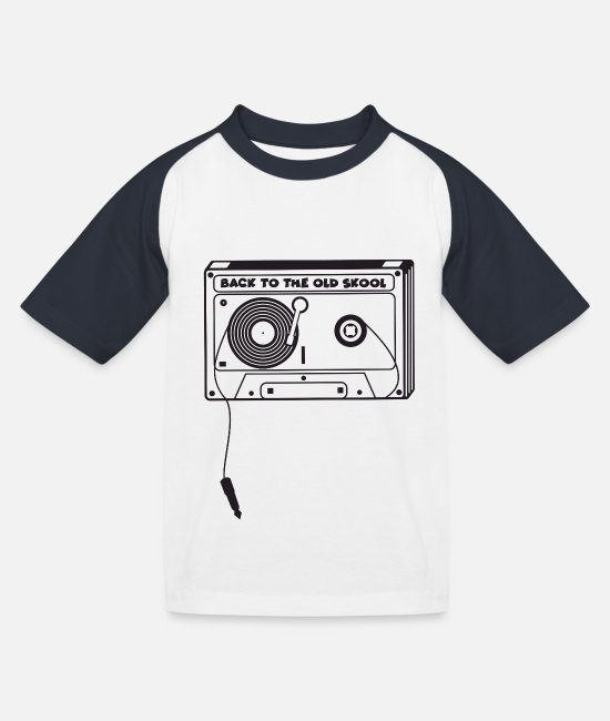 Rap T-Shirts - Musik Tape Oldschool - Kinder Baseball T-Shirt Weiß/Navy