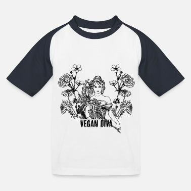 Vegan Diva - lady with flowers - Kids' Baseball T-Shirt