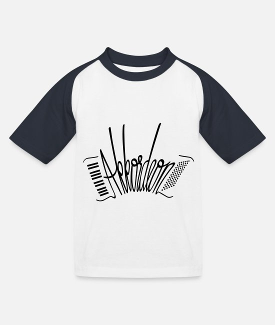 Orchester T-Shirts - Akkordeon - Kinder Baseball T-Shirt Weiß/Navy