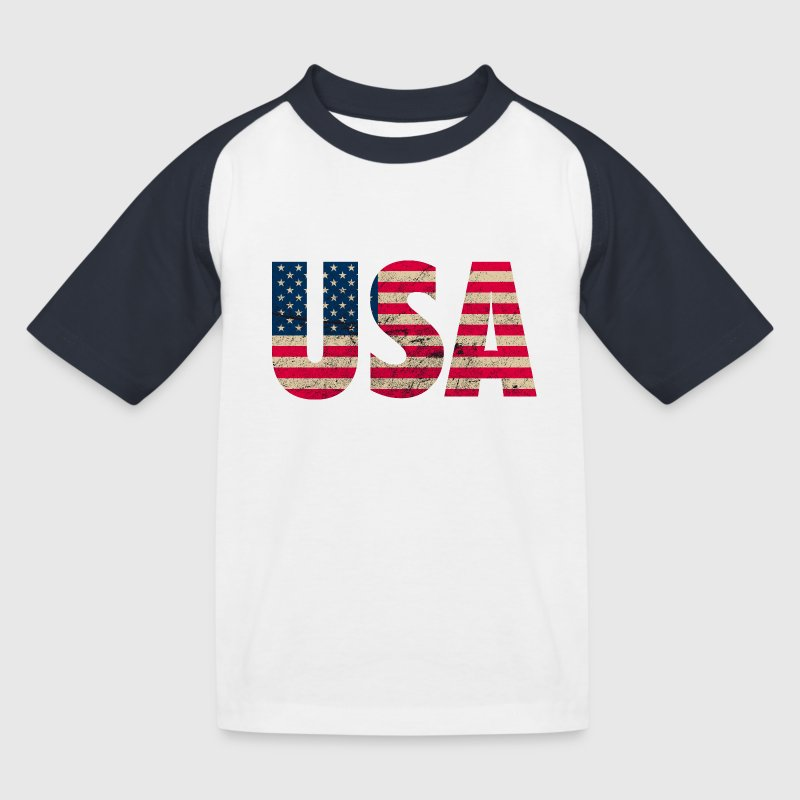 USA Amerika Stars and Stripes Used Look - Kinder Baseball T-Shirt