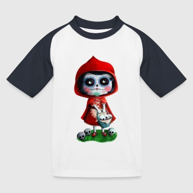 Mexican Little Red Riding Hood La Catrina Buttons - Kids' Baseball T-Shirt