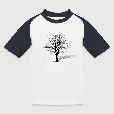tree silhouette winter shadow - Kids' Baseball T-Shirt