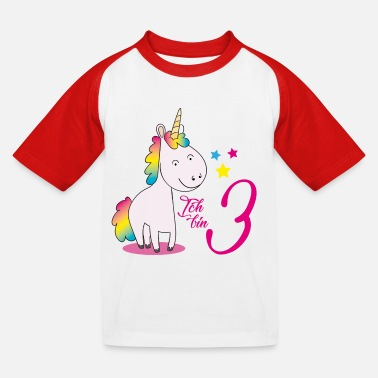 Number I am three - unicorn - Kids' Baseball T-Shirt