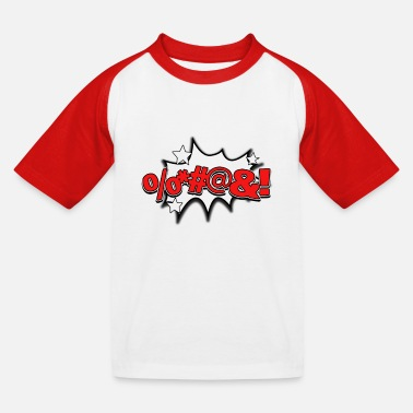 Cursing Curse Comic Lettering Icon - Kinderen baseball T-shirt
