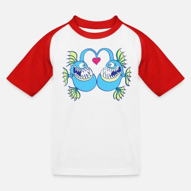 Deep Abyssal Fishes in Love - Kids' Baseball T-Shirt