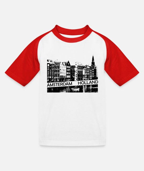 Travel Bug T-Shirts - Amsterdam Canal, houses and boat Holland - Kids' Baseball T-Shirt white/red