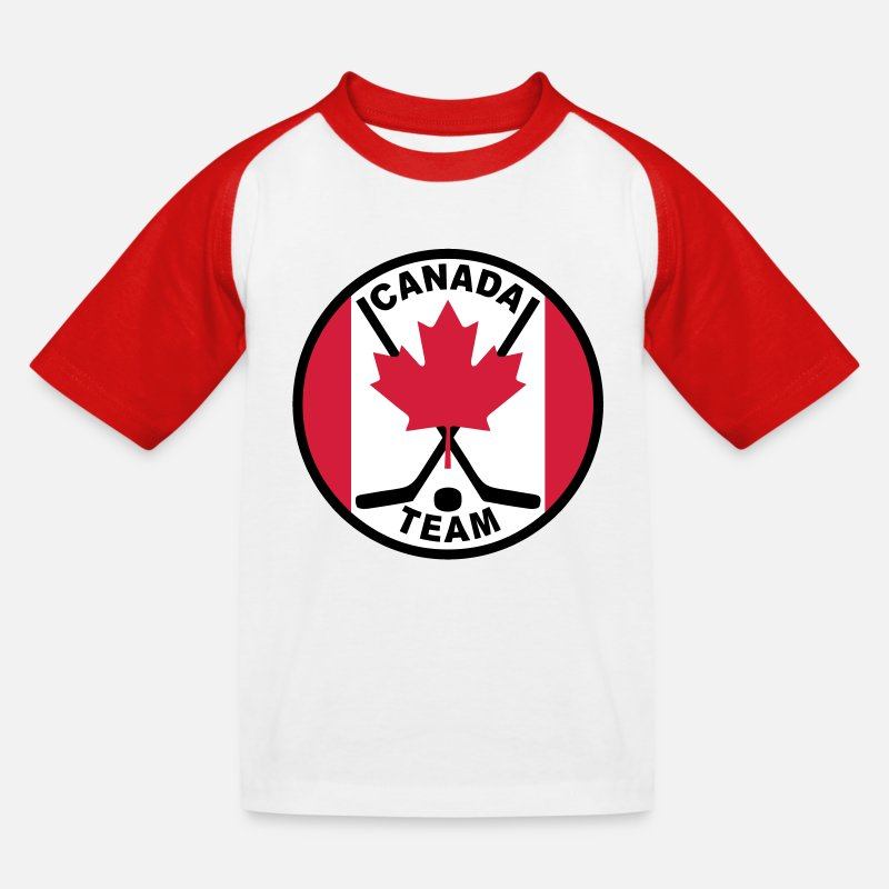 Hockey Sur Glace T-shirts - hockey canada team - T-shirt baseball Enfant blanc/rouge