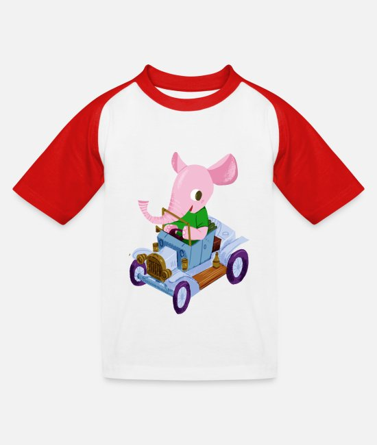 Vintage T-shirts - Elephant in a vintage car - Baseball T-shirt barn vit/röd