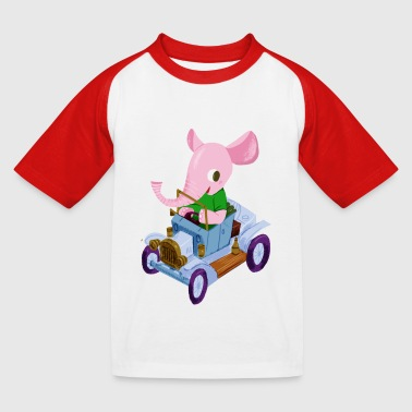 Elephant in a vintage car - Baseboll-T-shirt barn