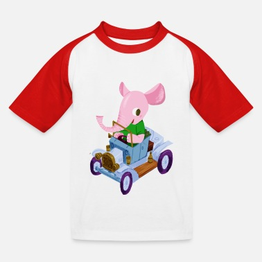 First Day Of School Elephant in a vintage car - Kids' Baseball T-Shirt