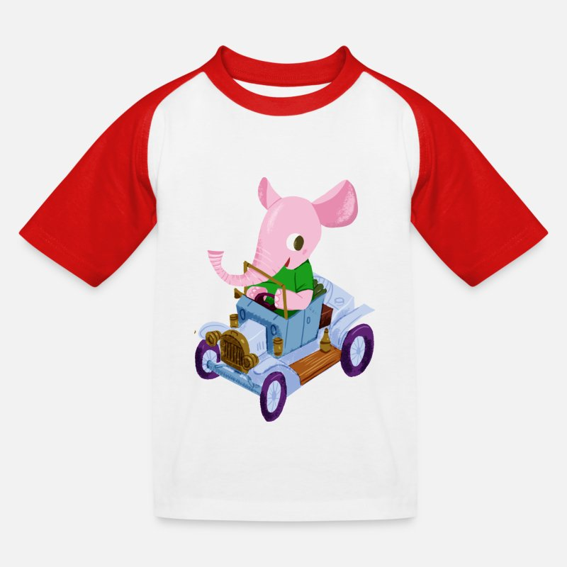 First Day Of School T-Shirts - Elephant in a vintage car - Kids' Baseball T-Shirt white/red