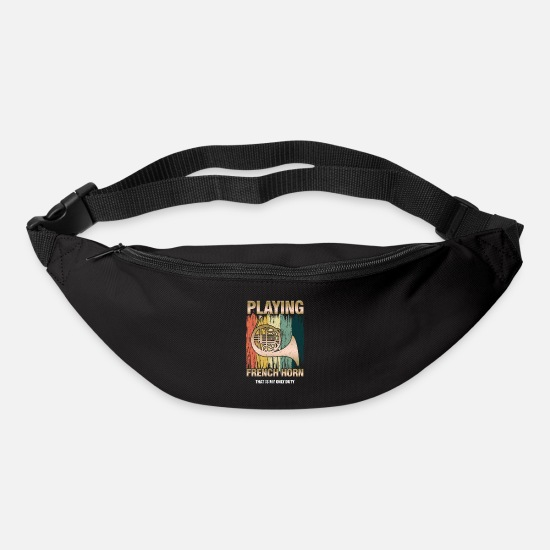 Birthday Present Bags & Backpacks - Retro French Horn Player Horn Instrumentalist - Bum Bag black