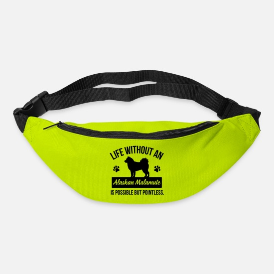 Alaskan Malamute Bags & Backpacks - Life without an Alaskan Malamute is pointless - Bum Bag lime green