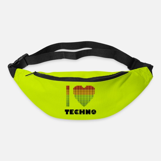 Love Bags & Backpacks - I love Techno Equalizer Heart Dance Clubbing - Bum Bag lime green