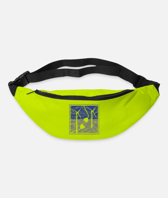 Conference Bags & Backpacks - Wind energy wind turbines electricity vintage - Bum Bag lime green