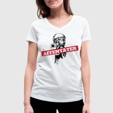 Monkey With Gun Monkey killer monkey with gun - Women's Organic V-Neck T-Shirt by Stanley & Stella