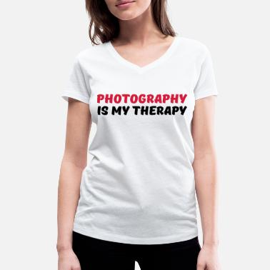 Gardening Photography is my therapy - Vrouwen bio T-shirt met V-hals van Stanley & Stella