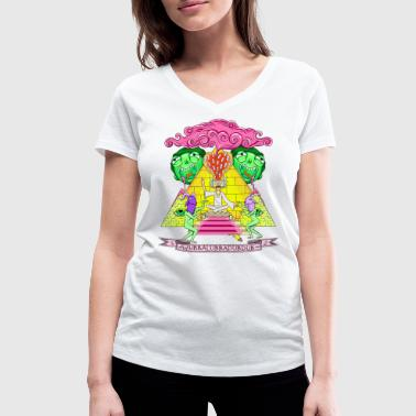 Rick And Morty Pyramid With Catchphrase - Women's Organic V-Neck T-Shirt by Stanley & Stella